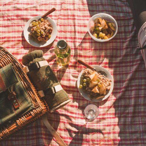 Picknickdecke mit Körbchen und gefüllten Müslischalen